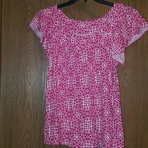 Elle pink and white print top (3 for $25)